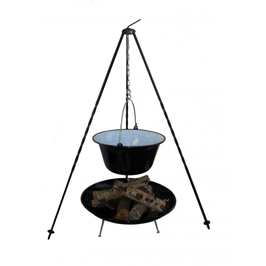 Kociołek na ognisko 14 lit z trójnogiem i paleniskiem