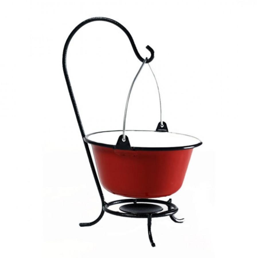 Kociołek na stół 0,8 l ze stojaczkiem stołowym, czerwony